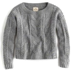 (2/$22) Hollister Gray Cableknit Pullover Sweater